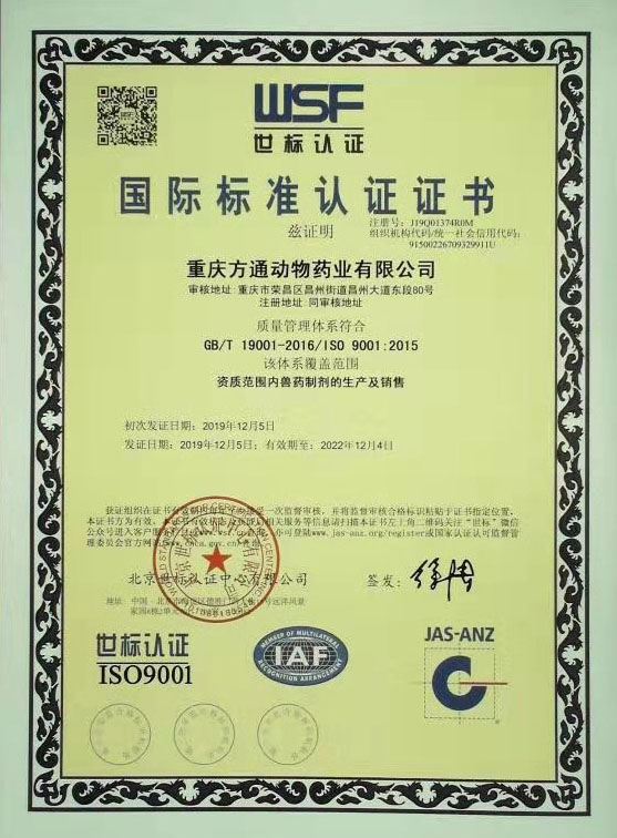 Congratulations! Fangtong Has Passed ISO9001 Certification.